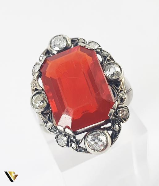 Inel Aur 14k, Carnelian si Diamante de cca 0.30 ct in total, 4.66 grame (S) 4