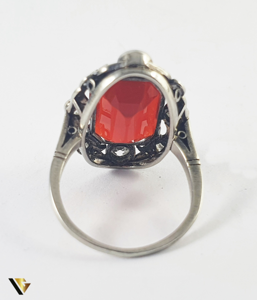 Inel Aur 14k, Carnelian si Diamante de cca 0.30 ct in total, 4.66 grame (S) 3