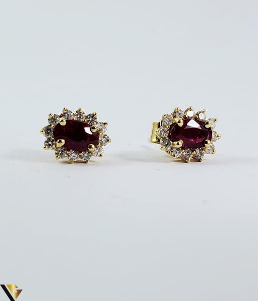Cercei aur 9k, Diamante 0,24 ct, Spinel, 1,25 gr (sed) 1