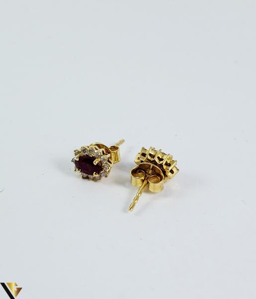 Cercei aur 9k, Diamante 0,24 ct, Spinel, 1,25 gr (sed) 2