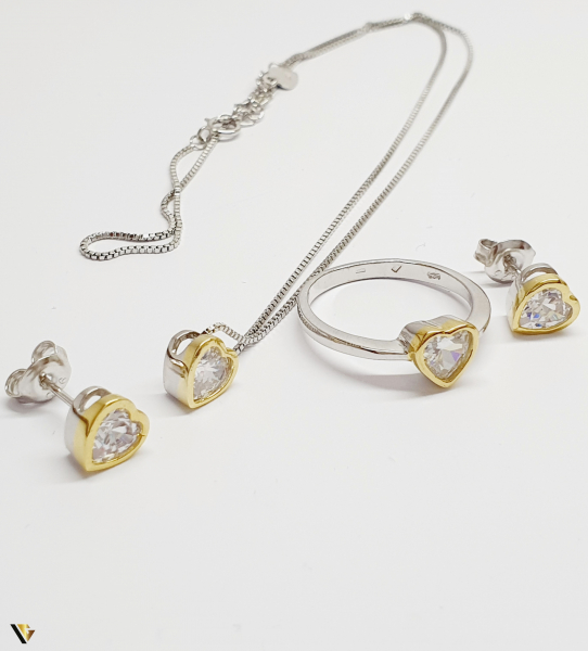 Set Argint Cercei, Pandantiv , Lant si Inel, 7.82 grame (BC M) 0