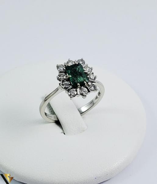 Inel aur 18 k, Diamante cca 0.50 ct in total, Smarald, 3.32 gr (SED) 0