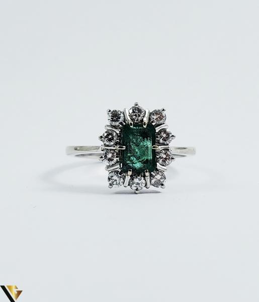 Inel aur 18 k, Diamante cca 0.50 ct in total, Smarald, 3.32 gr (SED) 1