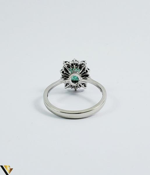Inel aur 18 k, Diamante cca 0.50 ct in total, Smarald, 3.32 gr (SED) 2