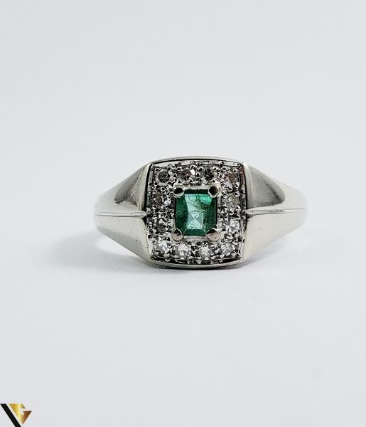 Inel Aur 18k, Diamante cca 0.18 ct in total, Smarald, 5.37 grame (Sed) 1