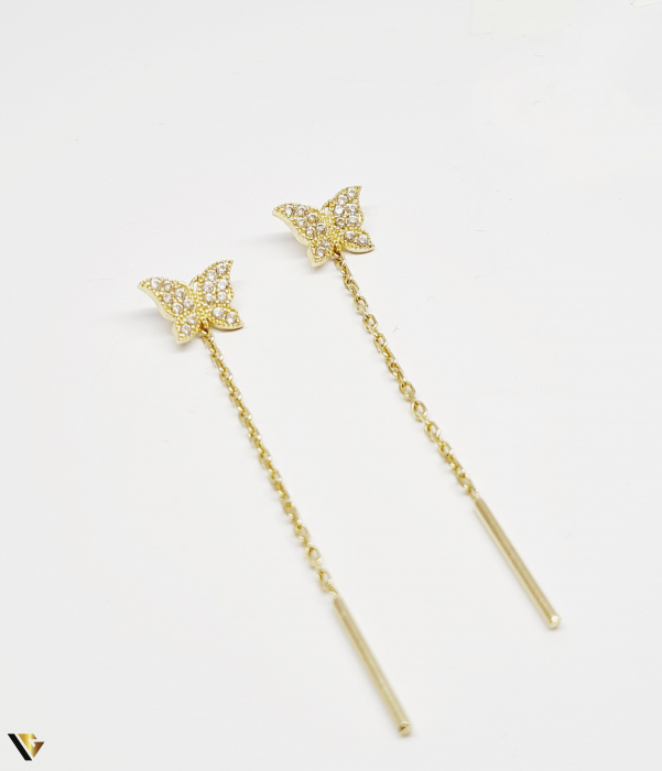 Cercei cu lant Aur 14K, Fluture, 1.72 grame (BC M) 0