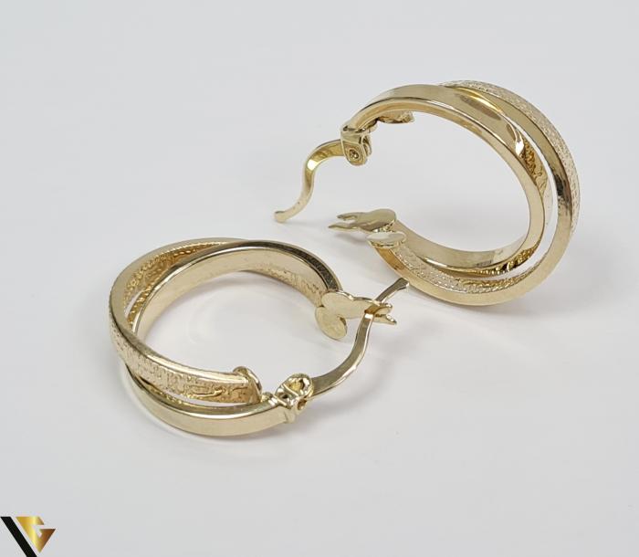 Cercei din aur  14k, 585 2.86grame Lungimea cerceilor 21.5mm Latimea cerceilor 5mm Marcaj cu titlul 585 Locatia HARLAU 2