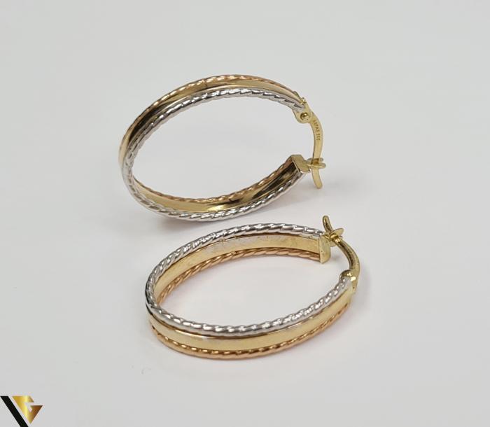 Cercei din aur  14k, 585 2.50grame Lungimea cerceilor 24.5mm Latimea cerceilor 4mm Marcaj cu titlul 585 Locatia HARLAU 2