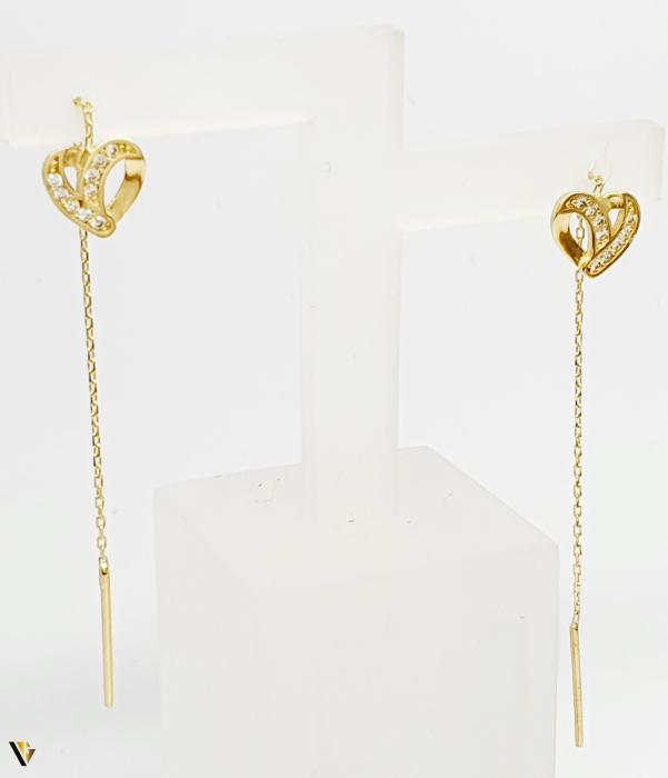 Cercei cu lant, Aur 14K, Inima, 0.92 grame (BC M) [0]