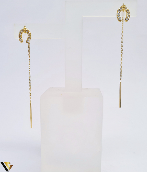 Cercei Aur cu lant, 14K, Potcoava, 0.75 grame (BC R) [0]