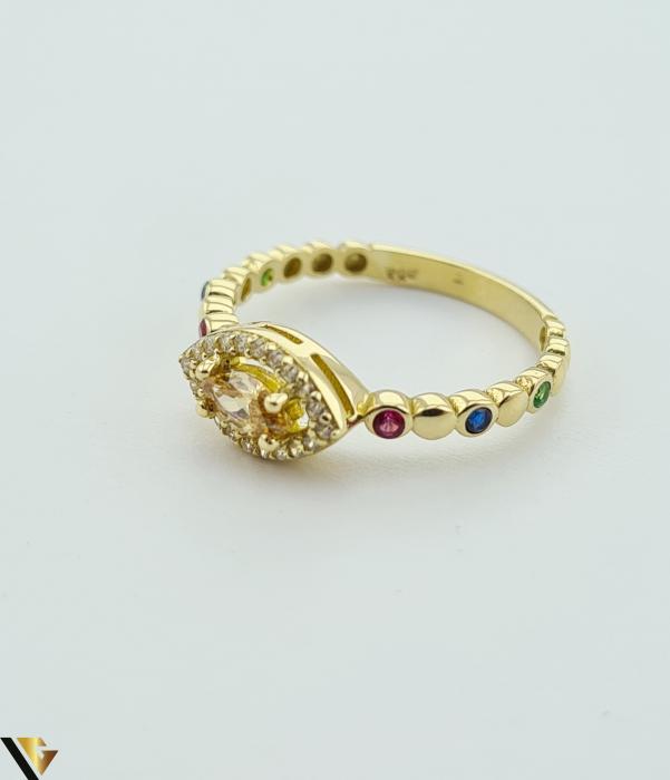 """Inel din aur 14k, 585 2.24 grame Latime inelului la partea superioara este de 6.3 mm Diametrul inelului este de 17.5mm Masura standard RO: 55 si UE: 15 Marcaj cu titlul """"585"""" Locatie Harlau [2]"""