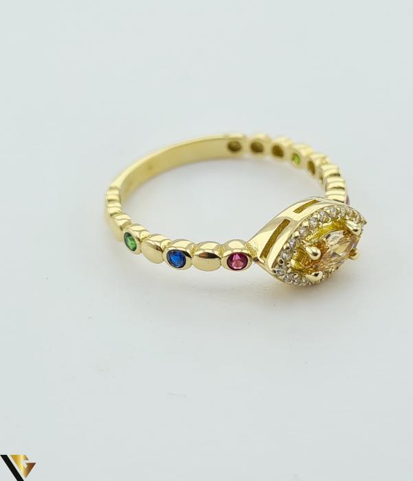 """Inel din aur 14k, 585 2.24 grame Latime inelului la partea superioara este de 6.3 mm Diametrul inelului este de 17.5mm Masura standard RO: 55 si UE: 15 Marcaj cu titlul """"585"""" Locatie Harlau [1]"""