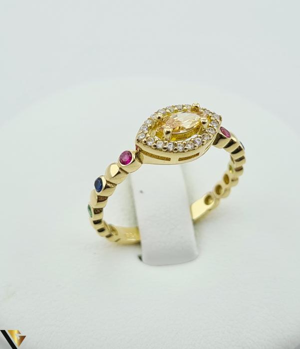 """Inel din aur 14k, 585 2.24 grame Latime inelului la partea superioara este de 6.3 mm Diametrul inelului este de 17.5mm Masura standard RO: 55 si UE: 15 Marcaj cu titlul """"585"""" Locatie Harlau [0]"""