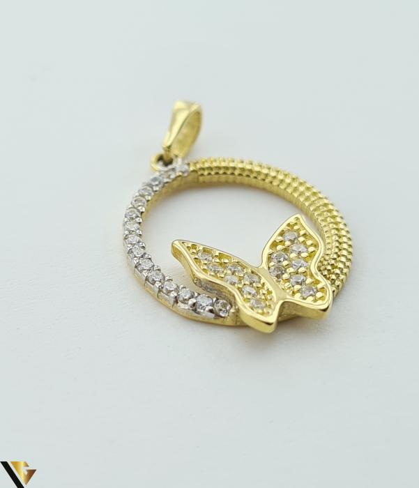 Pandantiv din aur 14k, 585 1.98 grame Lungimea pandantivului cu anou este de 25.5 mm Latimea pandantivului este de 16.5mm Locatie HARLAU [1]