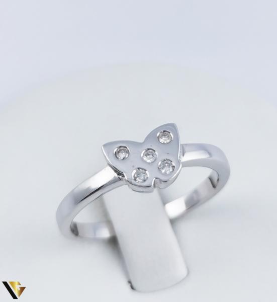 Inel Aur Alb 14k, Diamante de cca. 0.08 ct, 2.95 grame (R) [0]