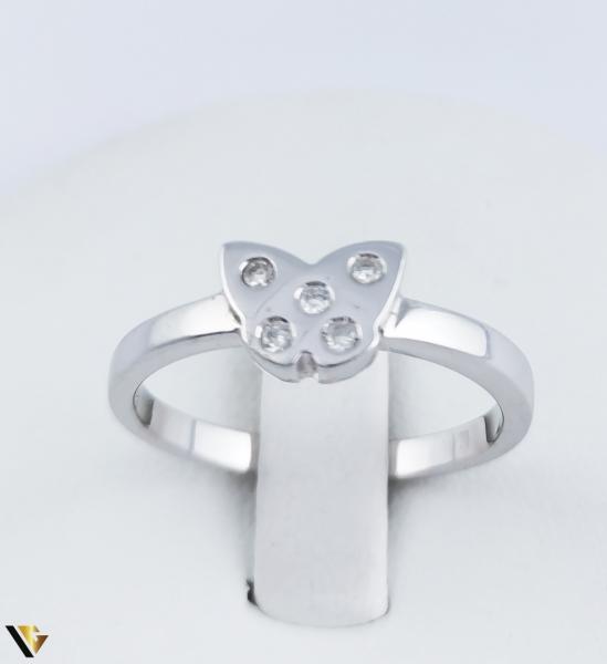 Inel Aur Alb 14k, Diamante de cca. 0.08 ct, 2.95 grame (R) [1]