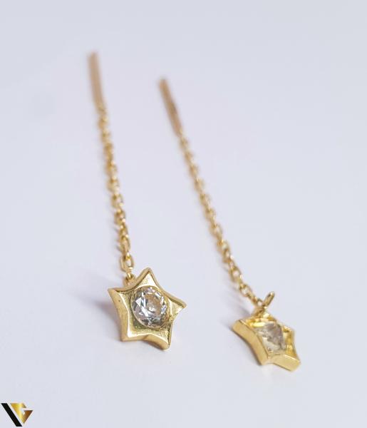 Cercei cu lant, Aur 14K, stea, 1.61 grame (BC R) [1]