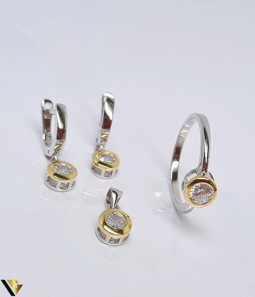 Set argint 925 format din cercei, inel si pandantiv , 6.10 grame (BC R) 0