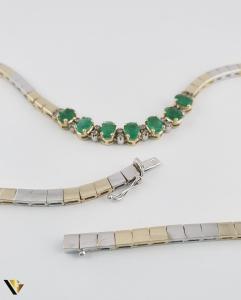 Colier Aur 14k, Diamante cca. 0.15 ct si Smaralde, 30.21 grame(P) [1]