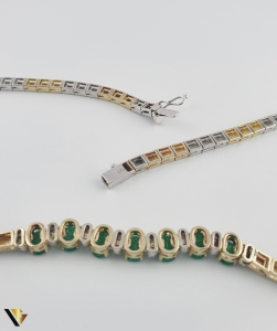 Colier Aur 14k, Diamante cca. 0.15 ct si Smaralde, 30.21 grame(P) [2]