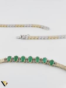 Colier Aur 14k, Diamante cca. 0.15 ct si Smaralde, 30.21 grame(P) [3]