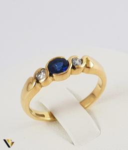 Inel Aur 18k, Diamante de cca. 0.13 ct in total, 3.84 grame (P)0