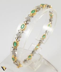 Bratara Aur 18k, Smaralde si diamante de cca. 0.30 ct in total, 16.58 grame0