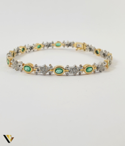 Bratara Aur 18k, Smaralde si diamante de cca. 0.30 ct in total, 16.58 grame1