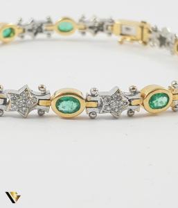 Bratara Aur 18k, Smaralde si diamante de cca. 0.30 ct in total, 16.58 grame2