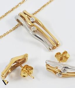 Set Lant, Pandant  si Cercei din Aur 18k, Diamante cca. 0.09 ct in total, 8.77 grame (R)0