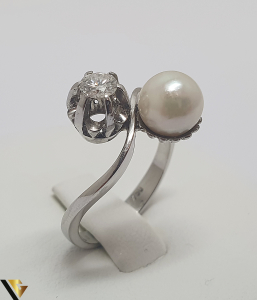 Inel Aur Alb 18k, Perla, Diamant cca. 0.25 ct, 4.18 grame (IS)1