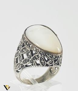 Inel Argint 925, Marcasite si Sidef, 14.11 grame (P)0