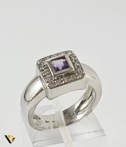 Inel Aur 18k, Ametist si Diamante, 7.50 grame , 220 LEI / GR0