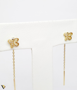 Cercei cu lant Aur 14K, Fluture , 1.76 grame (BC M)1