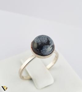 Inel din argint 830 1.79 grame Cabochon rotund, din obsidian fulg de zapada [0]