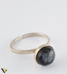 Inel din argint 830 1.79 grame Cabochon rotund, din obsidian fulg de zapada [2]