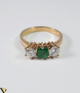 Inel Aur 18k, Diamante cca 0.70 ct, Smarald, 3.92 grame (S)4
