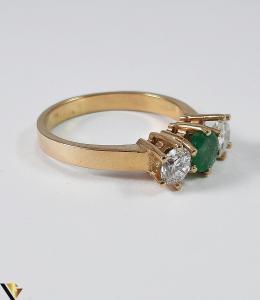 Inel Aur 18k, Diamante cca 0.70 ct, Smarald, 3.92 grame (S)3