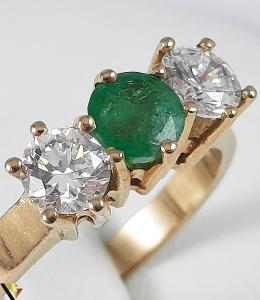 Inel Aur 18k, Diamante cca 0.70 ct, Smarald, 3.92 grame (S)2