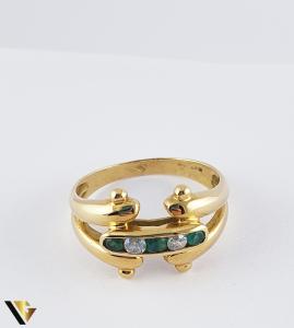 Inel din aur 18k, 750 3.53 grame 3 smaralde [2]