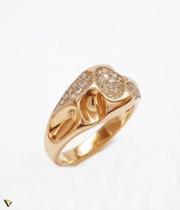 Inel cu diamante de cca. 0.252 ct, din aur rose 18k, 4.92 grame (BC M)0