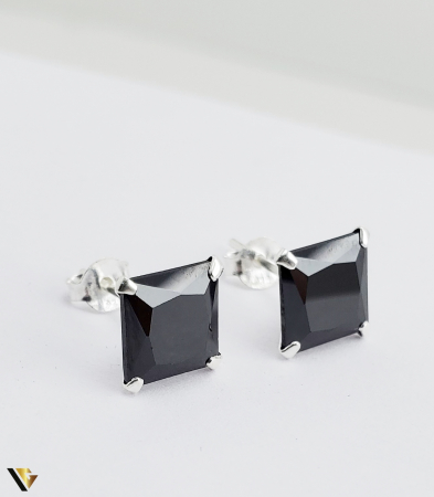 Cercei argint 925, 2.15 grame (R) negru patrat [1]