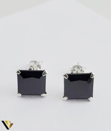 Cercei argint 925, 2.15 grame (R) negru patrat [0]