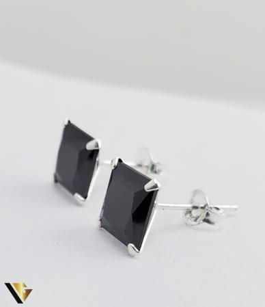 Cercei argint 925, 2.15 grame (R) negru patrat [2]