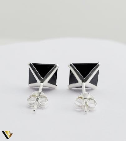 Cercei argint 925, 2.15 grame (R) negru patrat [3]