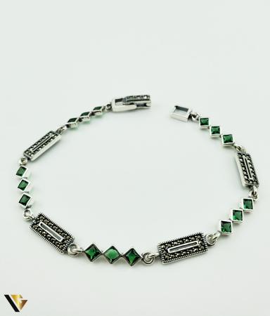 Bratara Argint 925, 7.74 grame (R) verde marcasite [0]