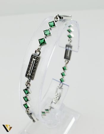 Bratara Argint 925, 7.74 grame (R) verde marcasite [4]