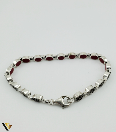 Bratara Argint 925, 15.03 grame  marcasite rosu [5]