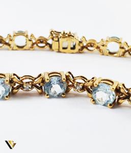 Bratara Aur 9k, Topaze si diamante de cca. 0.25 ct in total, [1]