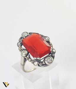 Inel Aur 14k, Carnelian si Diamante de cca 0.30 ct in total, 4.66 grame (S)0